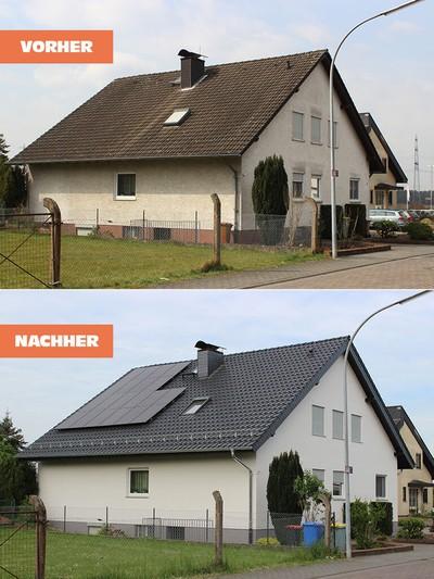 Neue Dacheindeckung mit schwarzen Ziegeln und Photovoltaik Anlage