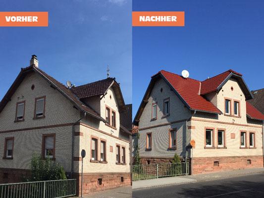 Neue Dacheindeckung mit roten Ziegeln